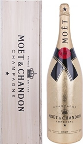 Moet & Chandon Brut Imperial Gold Leaf Bottle Jeroboam in Holzkiste (1 x 3 l) - 1